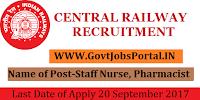 Central Railway Recruitment 2017 - Staff Nurse, Pharmacist