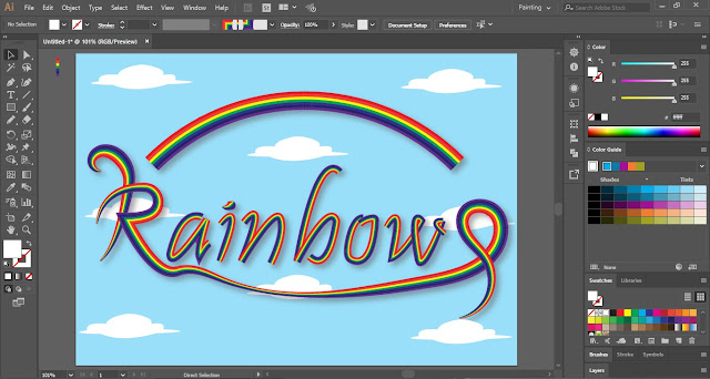 Rainbow Text Effect in Adobe Illustrator