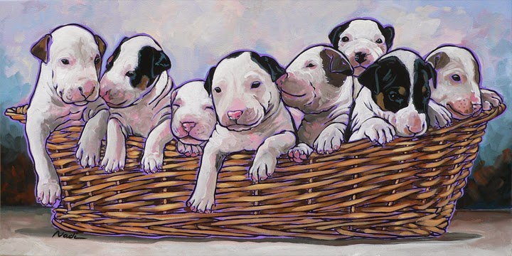 dog painting, Bull Terrier