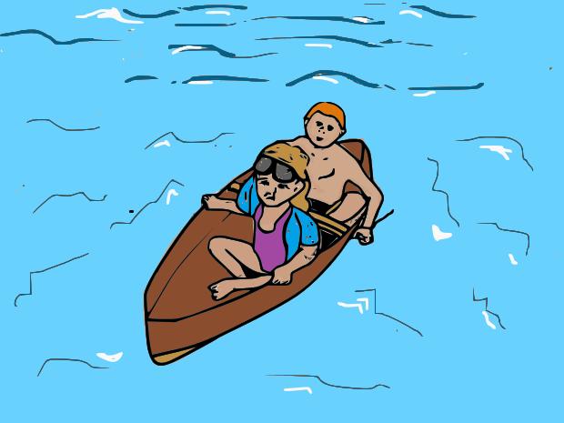 costruire-verniciare-canoa-bambini-piscina-due-posti
