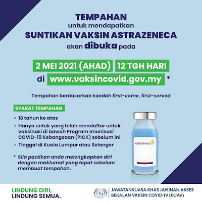 Tempahan Mendapatkan Suntikan Vaksin Astrazeneca