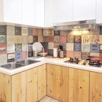 Desain Lemari dapur dinding kayu