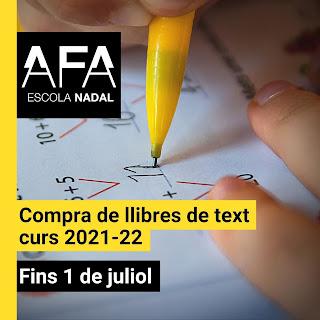 Imatge amb el logo de l'AFA i el text Compra de llibres de text curs 2021-22. Fins l'1 de juliol