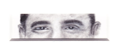 """""""Eyes of Barack Obama"""" Charcoal on Paper, c. 2007 1 x 3 inches"""