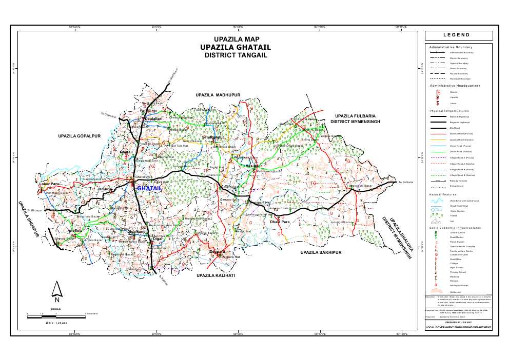 Ghatail Upazila Map Tangail District Bangladesh