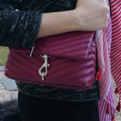boucle blazer with Rebecca Minkoff Edie small crossbody bag in magenta and striped scarf | awayfromtheblue
