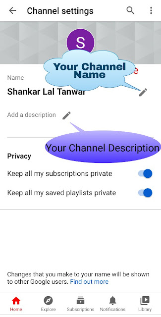 Youtube channel name and definition