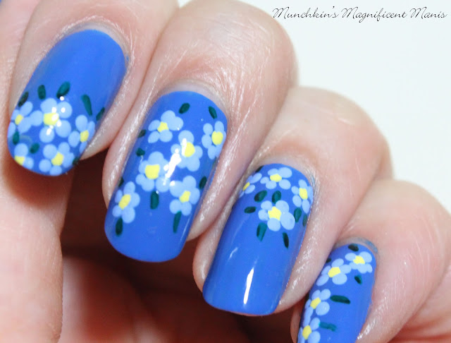 Spring Time Blue Flowers Nail Design