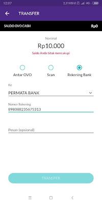 Transfer OVO Cash ke Rekening Bank