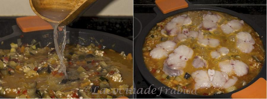arroz caldoso, rape, pulpo, verduras