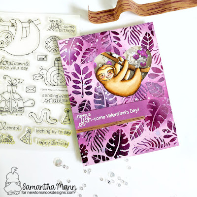 Have a Sloth-some Valentine's Day Card by Samantha Mann for Newton's Nook Designs, deco foil, thermoweb, foil, love, cards, handmade cards, #newtonsnook #decofoil #foil #sloth #valentinesday #cards