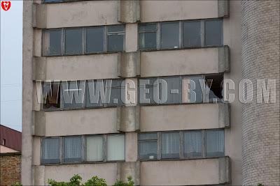 Минск. Ураган 13 июля выбил стекла в НИИ