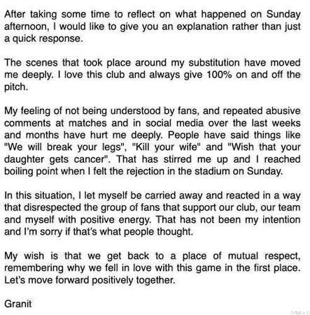 Xhaka Breaks Silence After Fan Fight