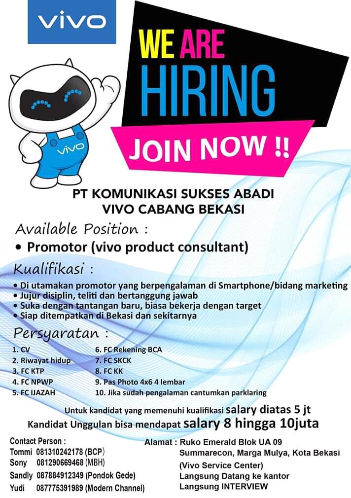 Info Lowongan Kerja Promotor Vivo Bekasi Info Lowongan Kerja