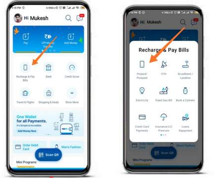How to recharge your mobile number or any other bill payments using Paytm app  Phonepe   Google pay   Amazon pay   Freecharge