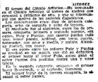 Recorte La Vanguardia sobre Capablanca