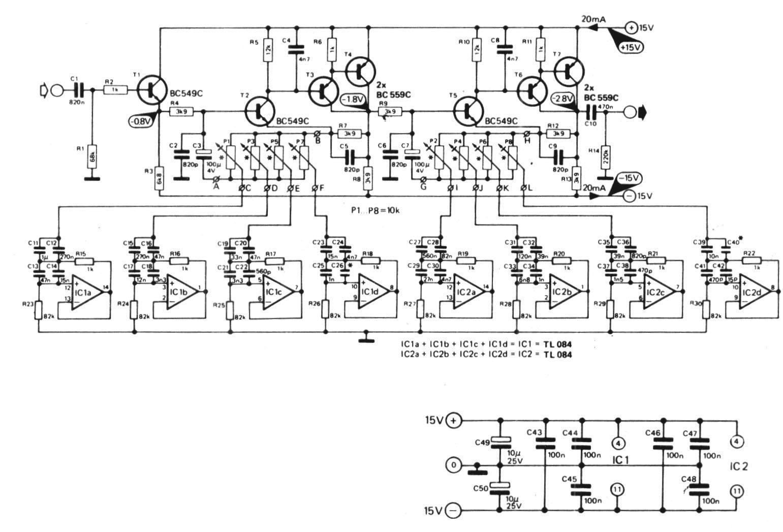 Semikonduktors T1 T2 T5 Bc 549c Bc 550c T3 T4 T6 T7 Bc 559c Bc 560c Ic1 Ic2 Tl 084