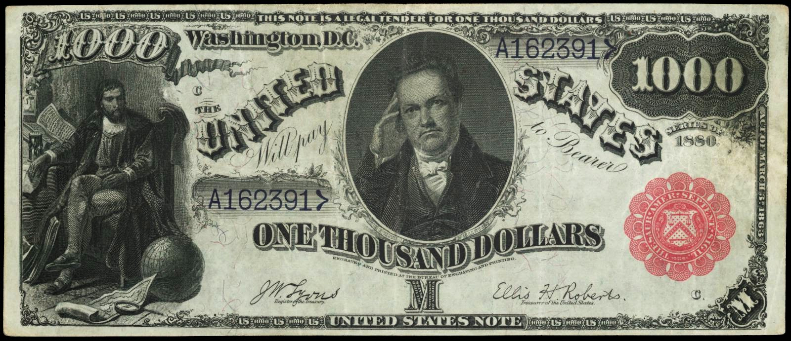 1000 Dollar bill Legal Tender United States Currency Notes DeWitt Clinton