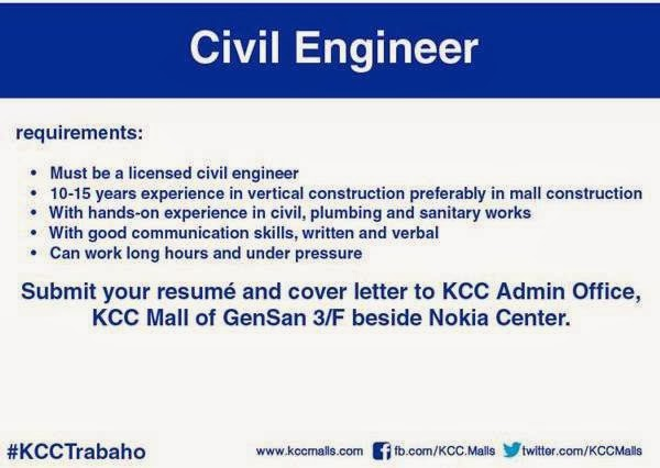 Job Openings at KCC Mall of Gensan