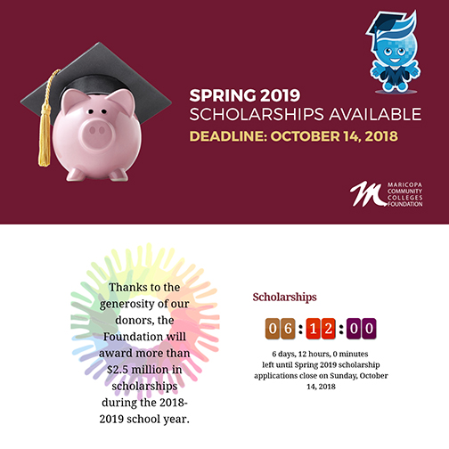 Poster featuring a pink piggy bank wearing a graduation cap.  Text: Spring 2019 scholarships available.  Deadline Oct. 14, 2018.  Rio Salado mascot Splash standing near by in graduation cap and gown. Text: Thanks to the generosity of our donors the Foundation will award more than 2.5 million in scholarships during the 2018-19 school year