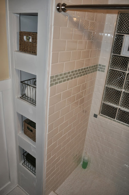 diy bathroom built-in, caulk, paint, bathroom, built-in, primer, distress