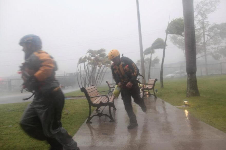 30 Shocking Pictures That Show How Catastrophic Hurricane Irma Is - Members Of The Civil Defence Run As Hurricane Irma Howls Past Puerto Rico