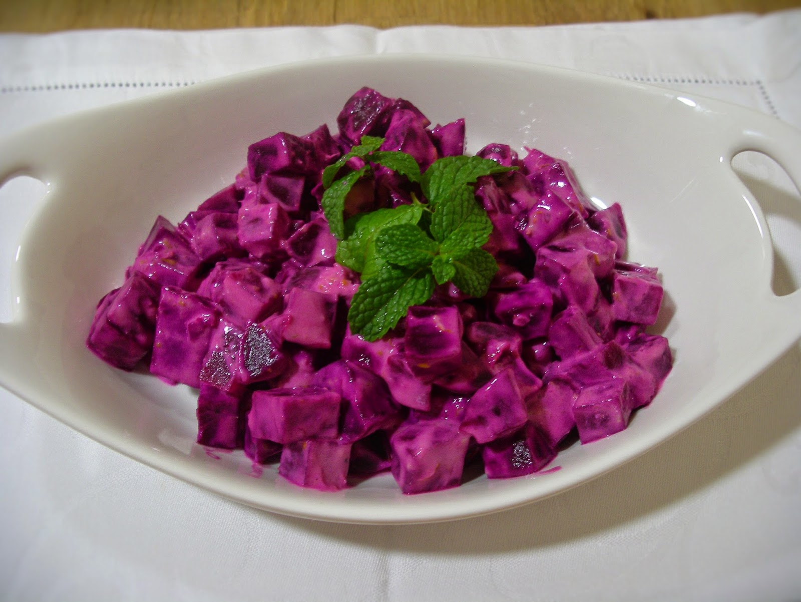 Shamandar: beetroot salad with yoghurt tahini dressing