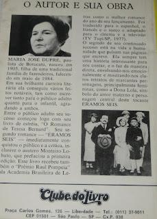 Éramos seis. Maria José Dupré. Editora Clube do Livro (São Paulo-SP). 1985. Contracapa.