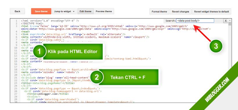 cara mencari kode tertentu pada template blogger