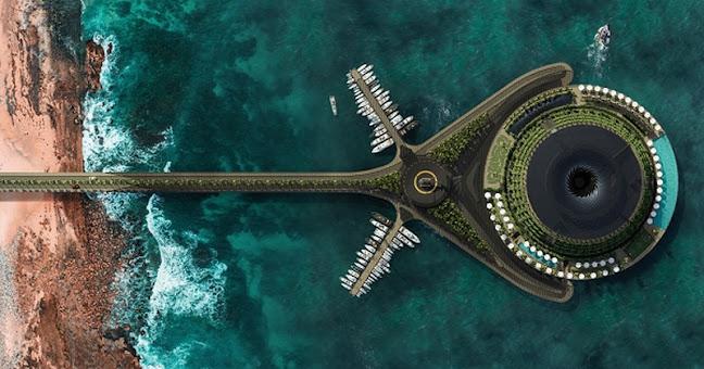 Phối cảnh từ trên cao khách sạn nổi tự quay quanh trục 24h ở Qatar