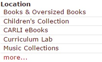 Collections in library catalog