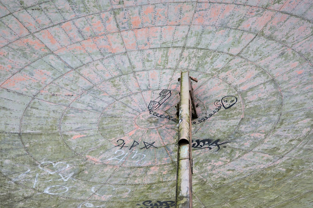 RAF Stenigot - discarded cold war radio communications dish - Copyright Chris Goddard