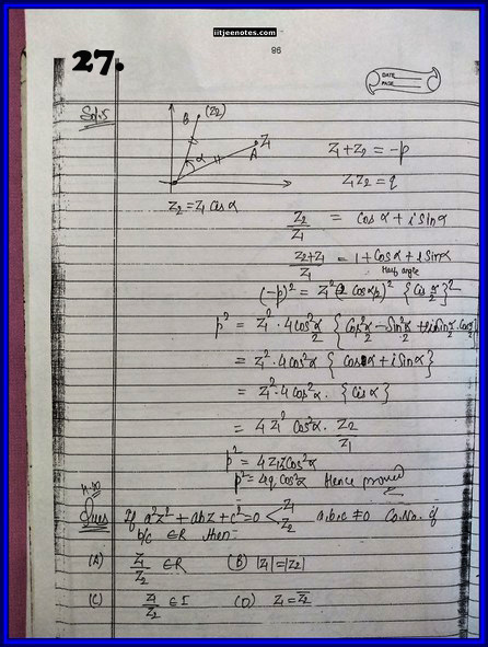 IITJEE Competition Notes On Complex Number 1