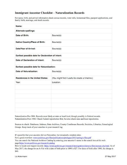 I hope you find this checklist helpful in tracking down naturalization records for your ancestor. Free for your personal use. Enjoy!