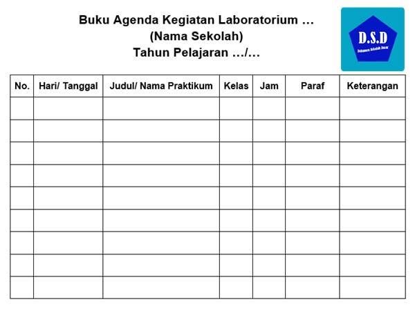buku agenda kegiatan laboratorium sekolah