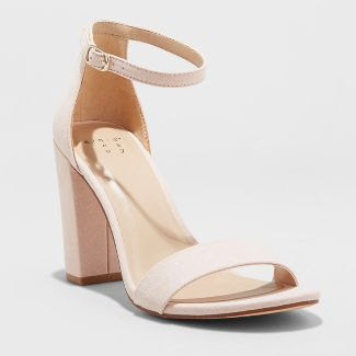 A New Day women's Ema High Block Heel Pumps in blush on a white background.