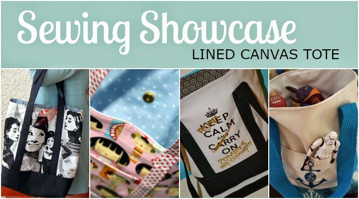 Fabulous Sewing Showcase of classic Lined Canvas Totes sewn from The Inspired Wren's tutorial.