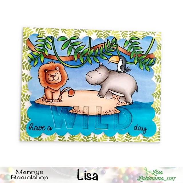 Sunny Studio Stamps: Tropical Scenes Savanna Safari Customer Card by Lisa Lukimama
