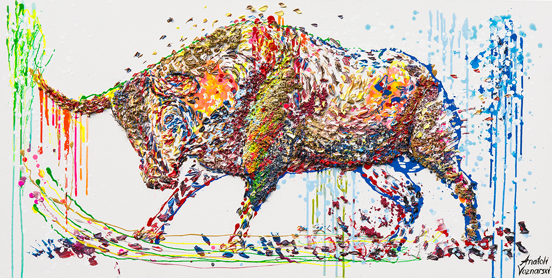 bull painting, bull acrylic, bull unique texture, bull dot painting, thick layers bull, abstract bull, bull voznarski, mixed bull, bull on canvas, bull pop art, bull wall art, beautiful bull , red bull