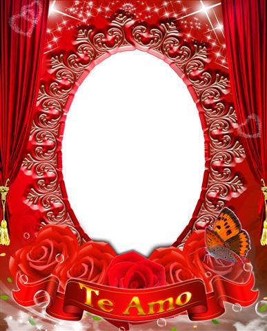 Bello marco color rojo con diseño femenino