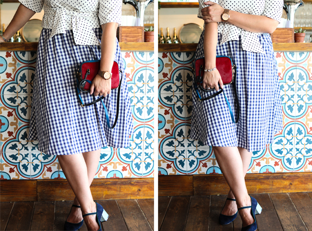 Outfit: Gingham Skirt, Polka Dot Shirt and J Crew Crossbody Bag