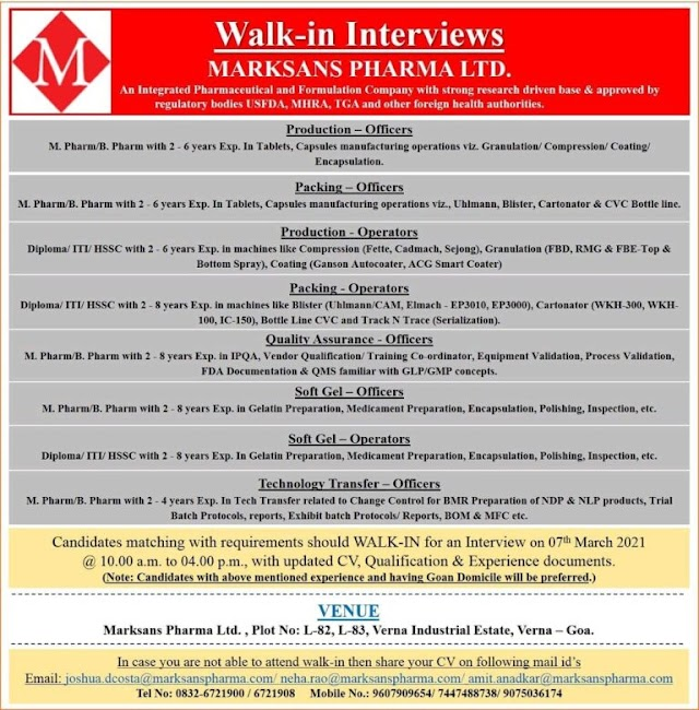Marksans Pharma  | Walk-In for Production/QA/Packing/Soft Gel/Technology Transfer on 07th March 2021