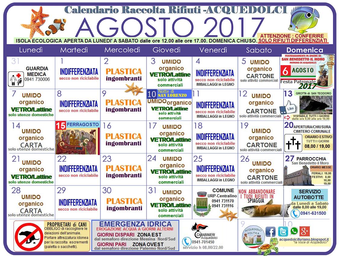 Calendario Raccolta Differenziata Sanremo.Raccolta Differenziata Il Calendario Del Mese Di Agosto 2017