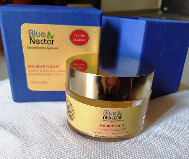 Blue Nector Shubhr Night Jasmine & Pachouli Hydrating Nourishing Repair Cream Review and Pictures