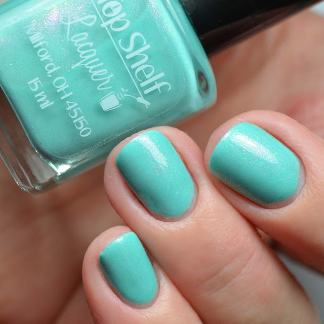 teal shimmer nail polish swatch