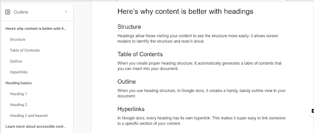 Screenshot of this article in Google Docs showing the outline structure that results from headings.