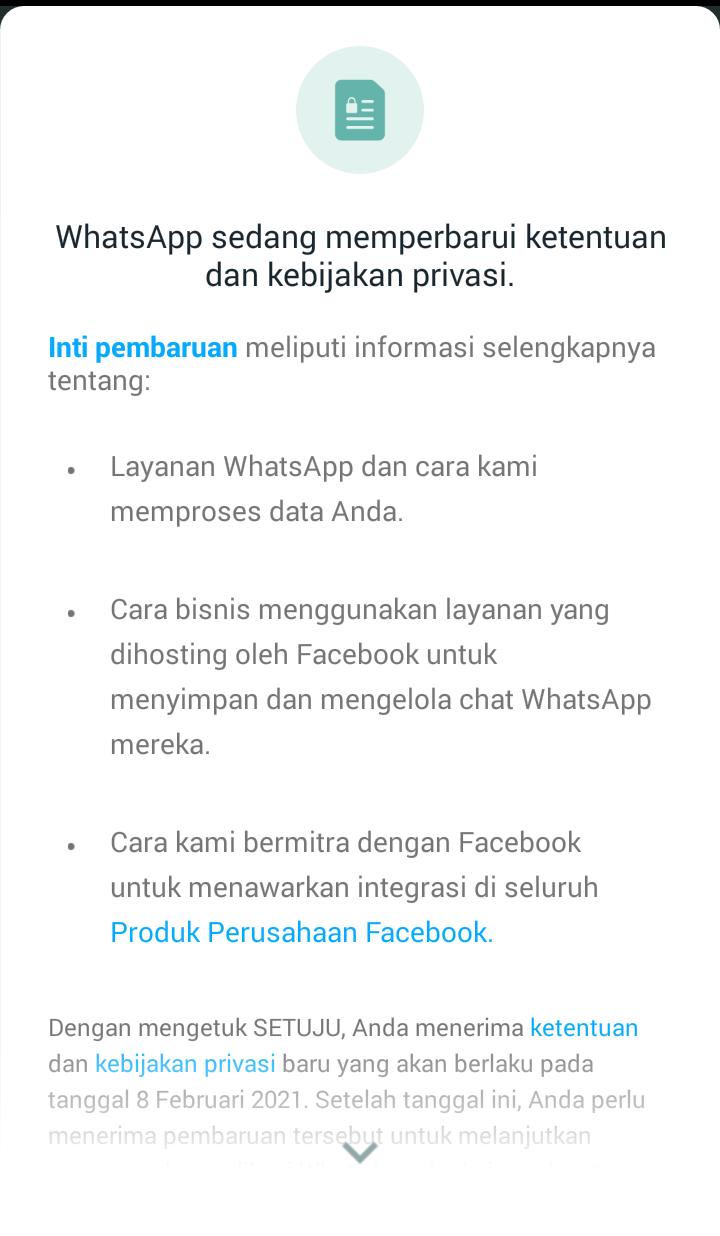 Aturan terbaru whatsapp,harus berikan data ke facebook