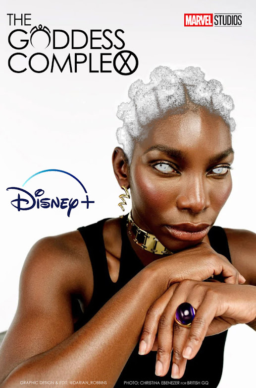 This is a fan edited picture by @Darian_Robbins imagining Michaela Coel as Storm from Marvel Studio's X-men. Original Photo shot by Christina Ebenezer @c__ebeneze for British GQ