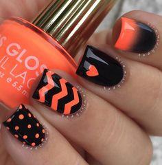 nail art arancione e nero