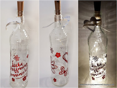 Sommerliche, blumige Leuchtflaschen mit Schmetterlingen und Herzen als Tischdeko Stampin' Up! www.eris-kreativwerkstatt.blogspot.de